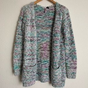 Love by Design open front multicolor knit cardigan